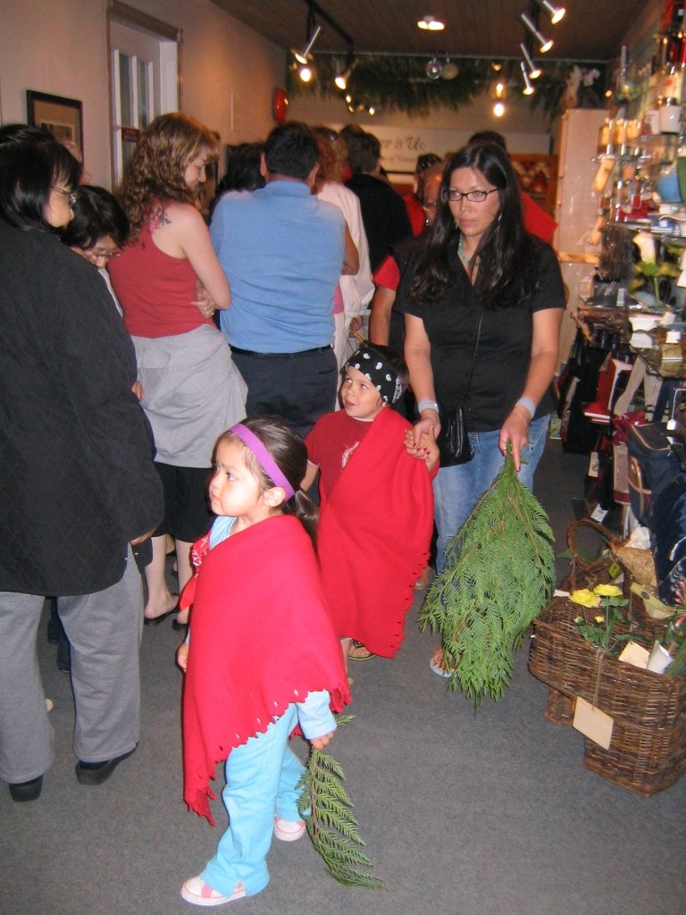 Young Kwantlen children leading attendees out