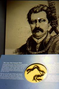 exhibit of a fragment of the 'rope that hanged Riel'