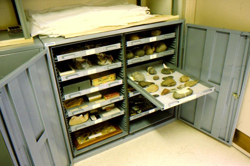 museum storage cabinet with archaeological artifacts