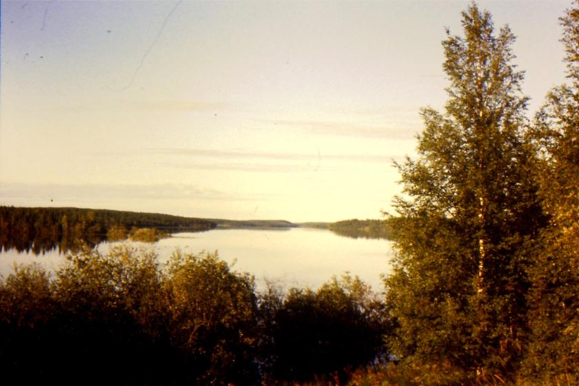 view south from SIL 182 excavation camp that was the route of daily boat travel to the site.