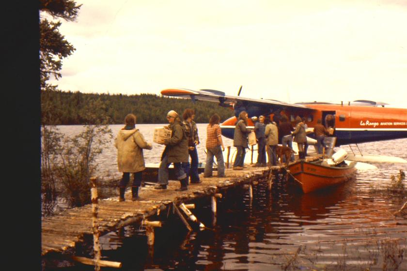 supply flight at camp dock