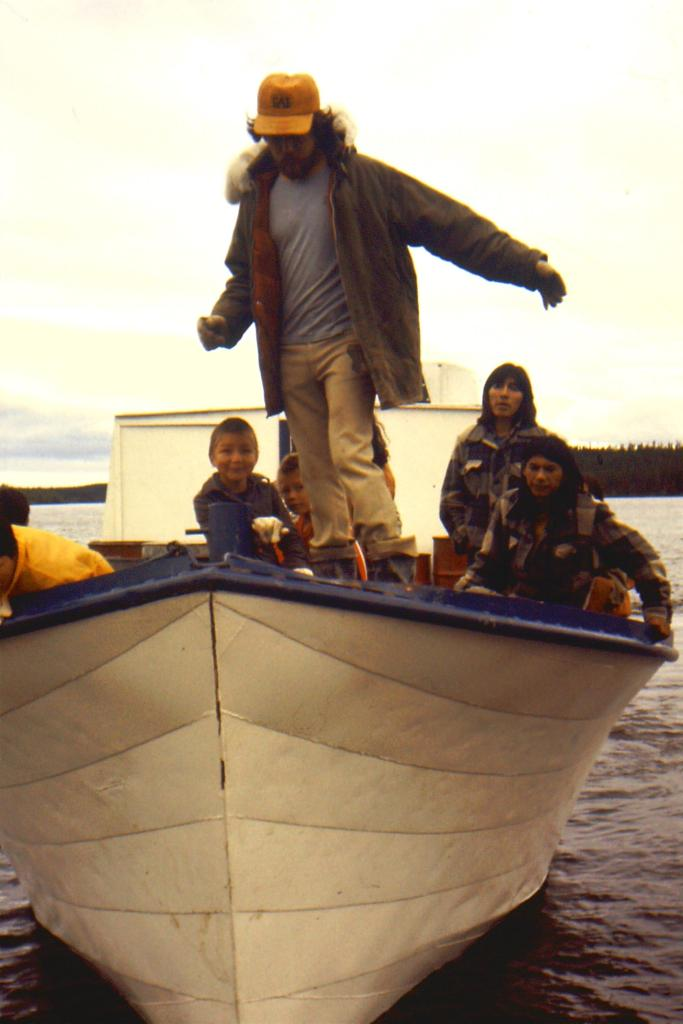 fishing boat arrival at the excavation camp