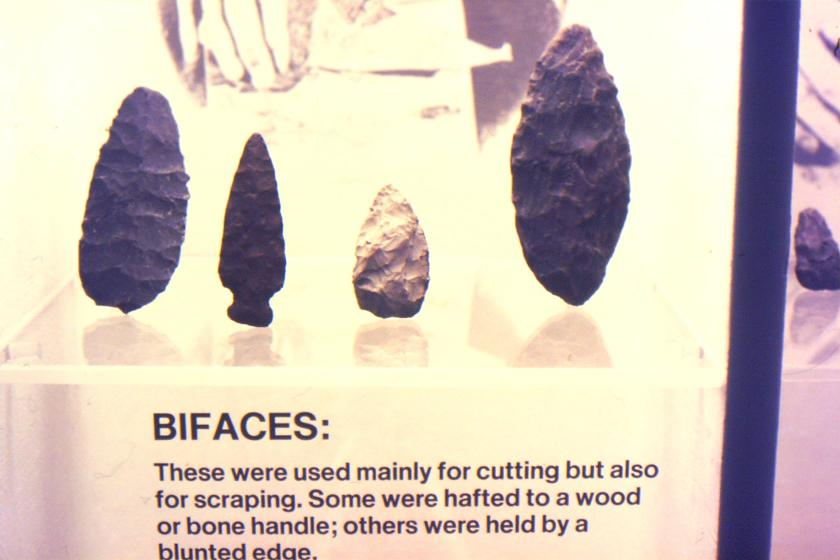 """stone tools called """"bifaces"""" flaked on both sides of the edge"""