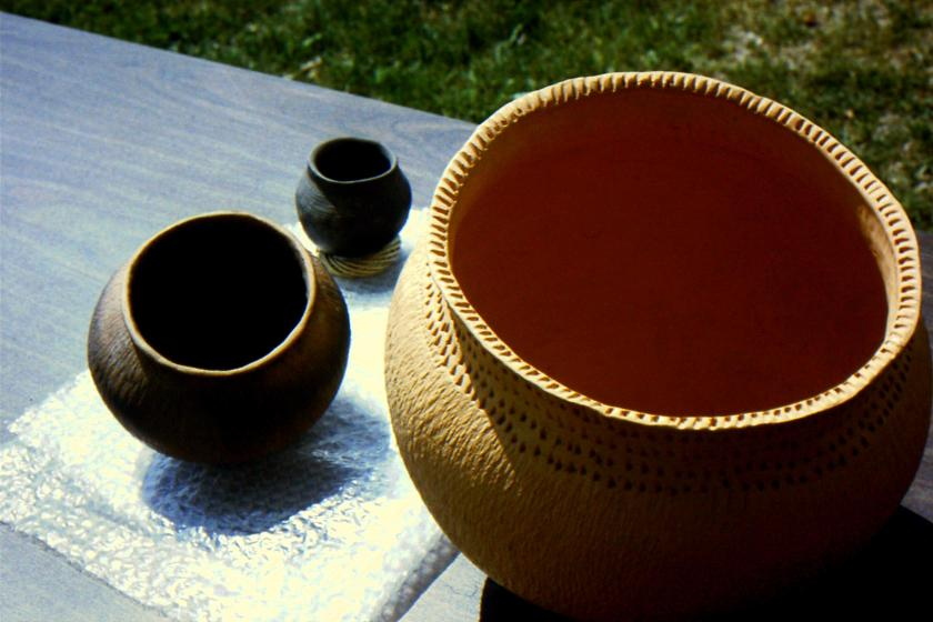 reproduction of prehistoric ceramic containers