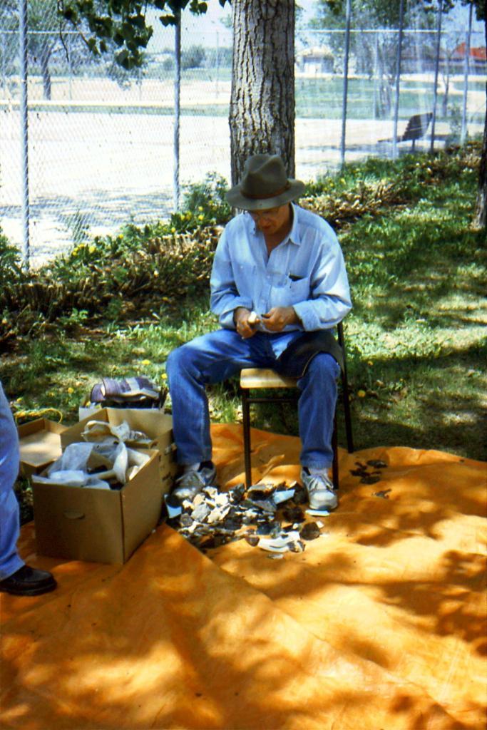 archaeologist flint knapping demonstration