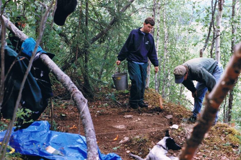 excavation of hillside cabin terrace